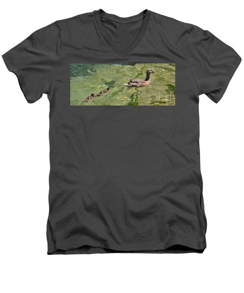 Men's V-Neck T-Shirt featuring the photograph Following Mom by Pamela Blizzard
