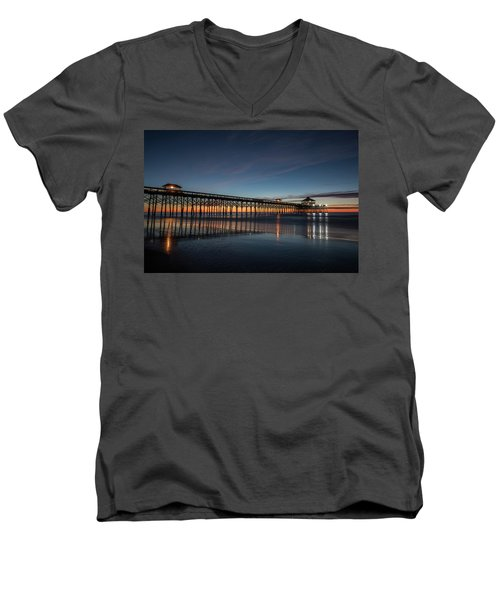Men's V-Neck T-Shirt featuring the photograph Folly Beach Pier Before Sunrise by Donnie Whitaker