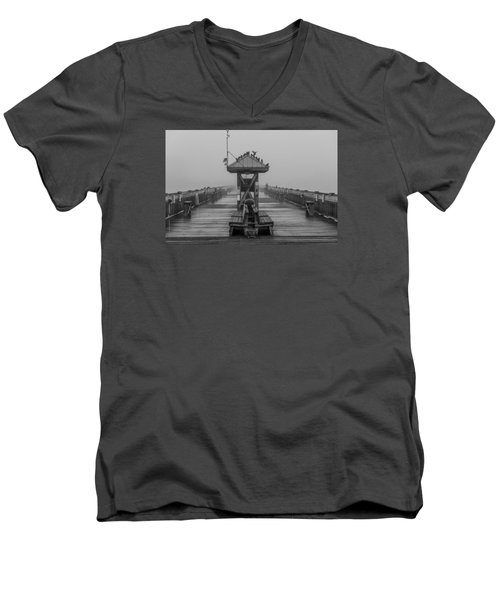 Folly Beach Pier Black And White  Men's V-Neck T-Shirt