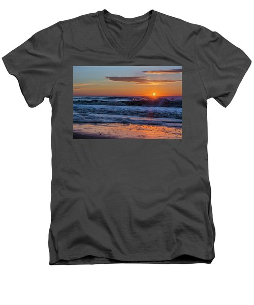 Men's V-Neck T-Shirt featuring the photograph Folly Beach Sunrise by RC Pics