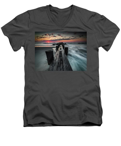 Men's V-Neck T-Shirt featuring the photograph Folly Beach Tale Of Two Sides by Donnie Whitaker