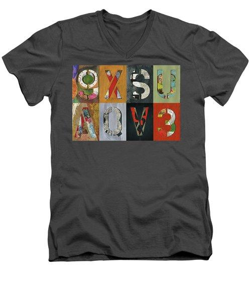 8 Number Letter Grid  Men's V-Neck T-Shirt