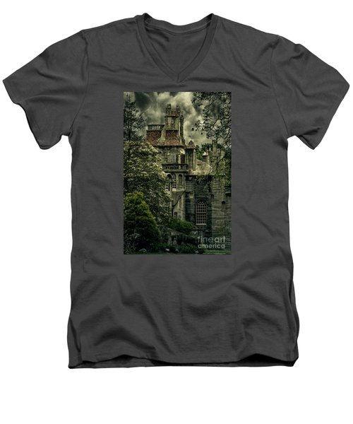 Fonthill With Storm Clouds Men's V-Neck T-Shirt by Debra Fedchin
