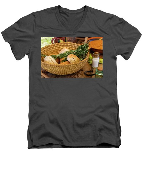 Men's V-Neck T-Shirt featuring the photograph Food - Bread - Rolls And Rosemary by Mike Savad