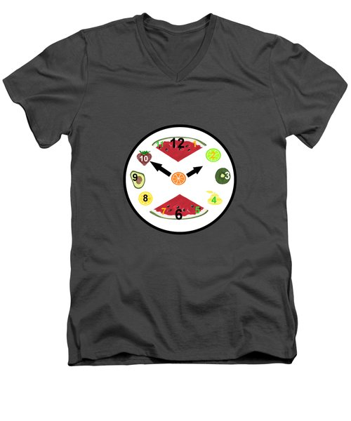 Food Clock Men's V-Neck T-Shirt by Kathleen Sartoris