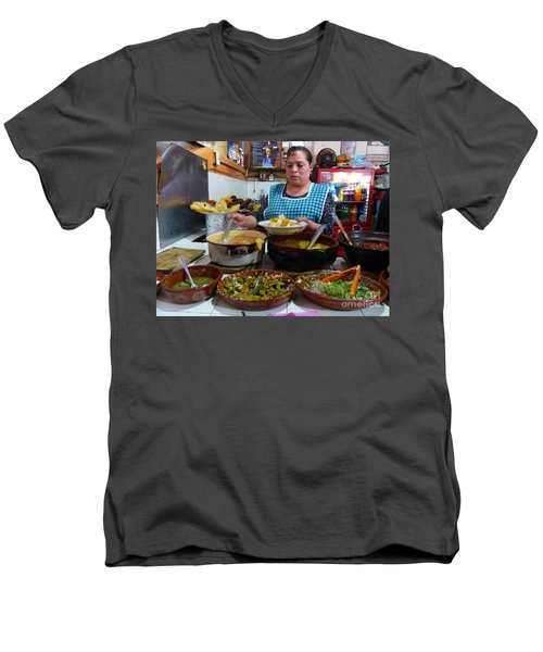 Food Court In Paracho Men's V-Neck T-Shirt