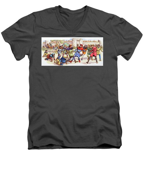 Football In The Middle Ages Men's V-Neck T-Shirt