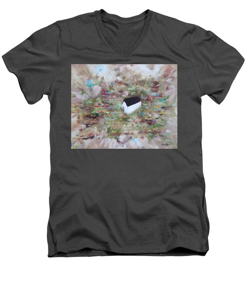 Men's V-Neck T-Shirt featuring the painting For Sheila by Judith Rhue
