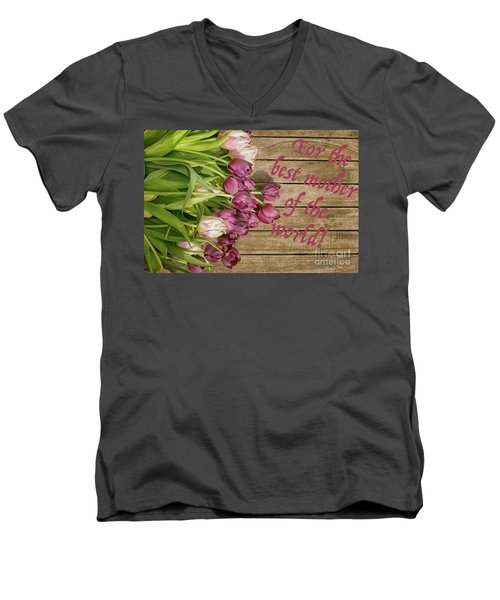 Men's V-Neck T-Shirt featuring the photograph For The Best Mother Of The World by Patricia Hofmeester