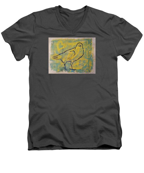 Men's V-Neck T-Shirt featuring the painting For The Love Of Raven by Cynthia Lagoudakis