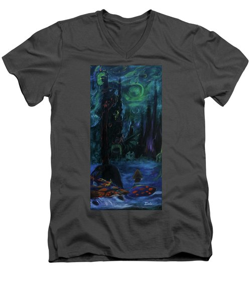 Men's V-Neck T-Shirt featuring the painting Forbidden Forest by Christophe Ennis
