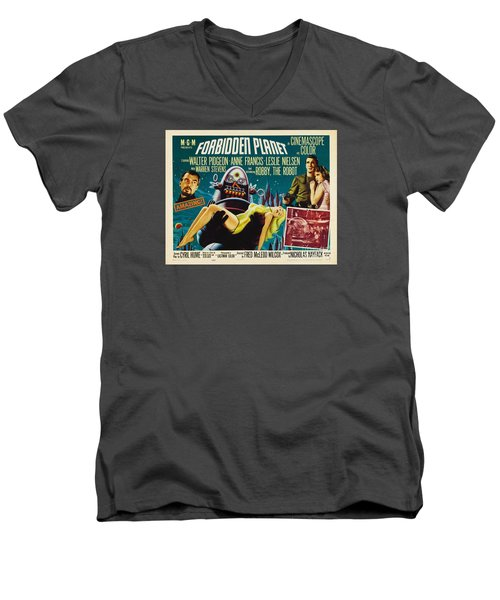 Forbidden Planet In Cinemascope Retro Classic Movie Poster Men's V-Neck T-Shirt