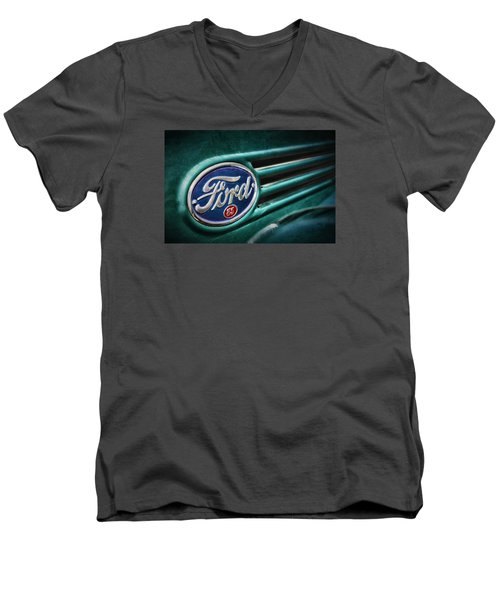 Men's V-Neck T-Shirt featuring the photograph Ford 85 by Caitlyn Grasso