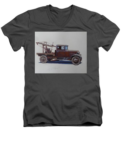 Ford A Type Wrecker. Men's V-Neck T-Shirt by Mike  Jeffries