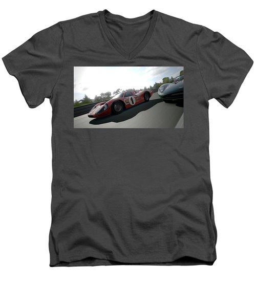 Ford Gt40 Mark Iv Men's V-Neck T-Shirt