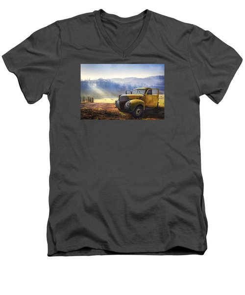 Men's V-Neck T-Shirt featuring the photograph Ford In The Fog by Debra and Dave Vanderlaan