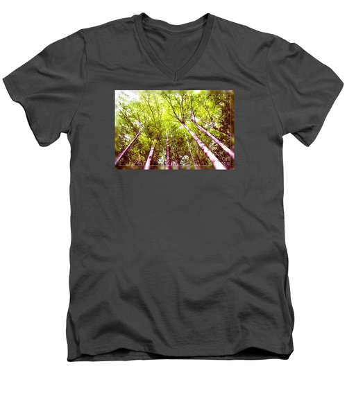 Men's V-Neck T-Shirt featuring the photograph Forest 2 by Jean Bernard Roussilhe