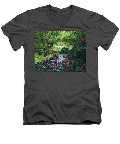 Forest Brook Iv Men's V-Neck T-Shirt by Michael Frank