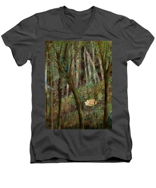 Forest Cat Men's V-Neck T-Shirt
