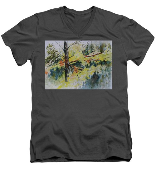 Men's V-Neck T-Shirt featuring the painting Forest Giant by Joanne Smoley