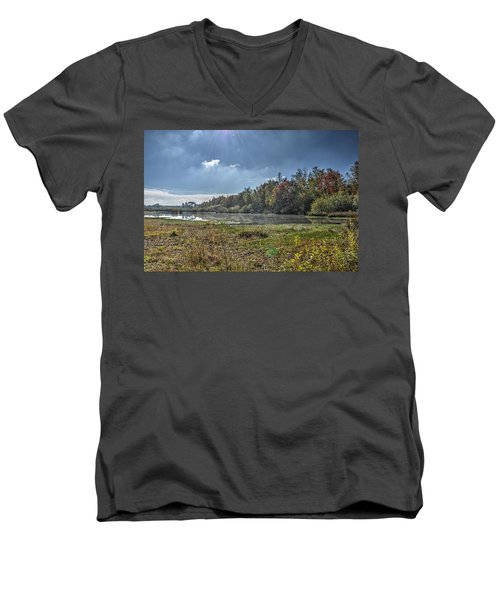 Forest Lake In Autumn Men's V-Neck T-Shirt