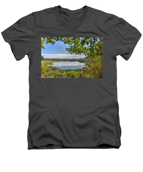 Forest Lake Through The Trees Men's V-Neck T-Shirt