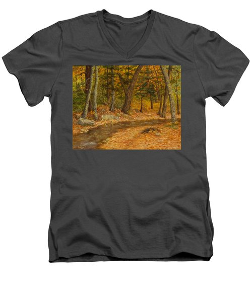 Men's V-Neck T-Shirt featuring the painting Forest Life by Roena King