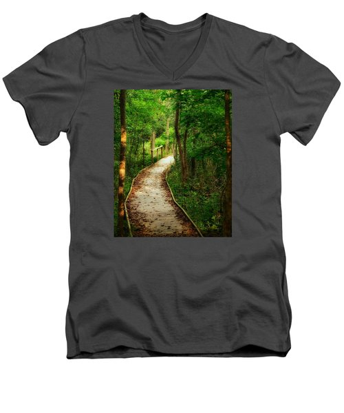 Men's V-Neck T-Shirt featuring the photograph Forest Path by Nikki McInnes