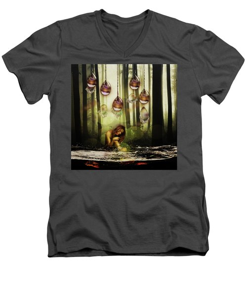 Forest Rain Fantasy Men's V-Neck T-Shirt