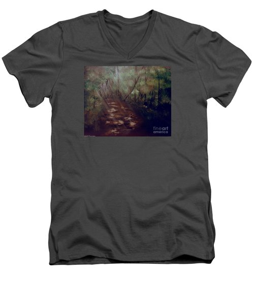 Men's V-Neck T-Shirt featuring the painting Forest Rays by Denise Tomasura