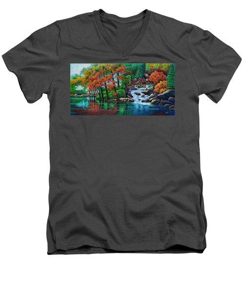 Forest Stream II Men's V-Neck T-Shirt by Michael Frank