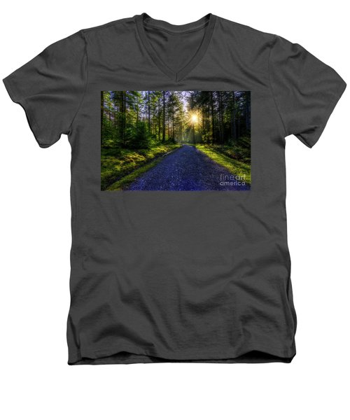 Forest Sunlight Men's V-Neck T-Shirt by Ian Mitchell