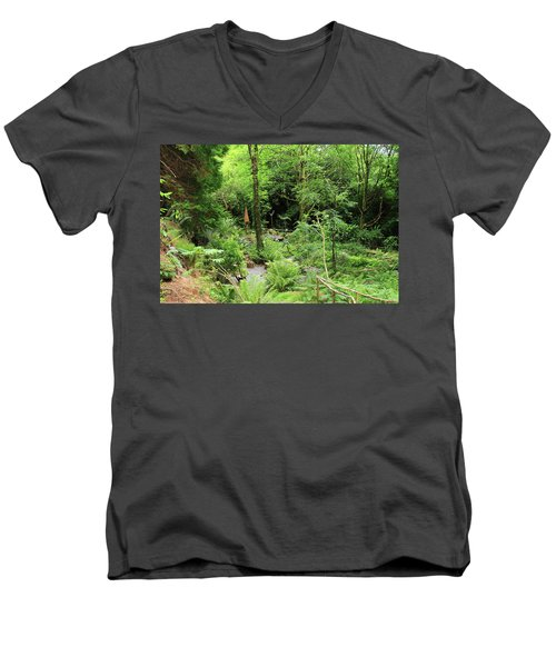 Men's V-Neck T-Shirt featuring the photograph Forest Walk by Aidan Moran