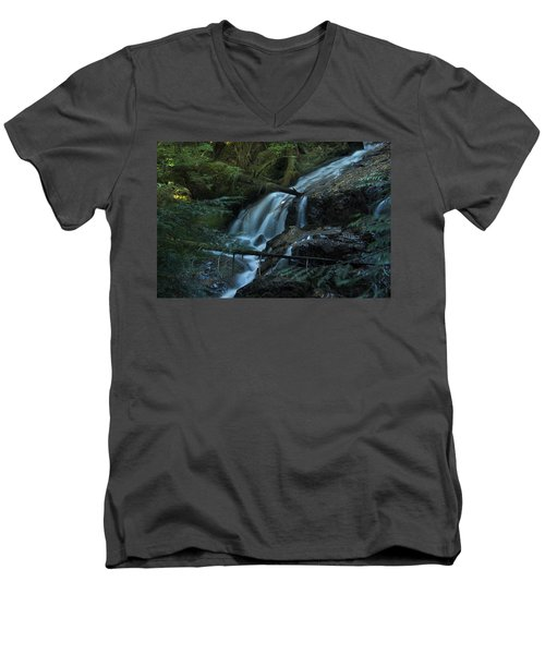 Forest Waterfall. Men's V-Neck T-Shirt