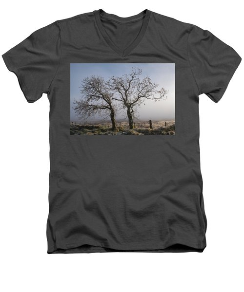 Men's V-Neck T-Shirt featuring the photograph Forever Buddies Facing The Fog by Jeremy Lavender Photography