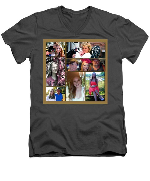 Men's V-Neck T-Shirt featuring the digital art Forever Moments by Kathy Tarochione