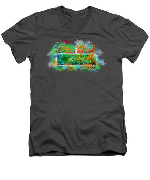 Forgive Brick Orange Tshirt Men's V-Neck T-Shirt by Tamara Kulish