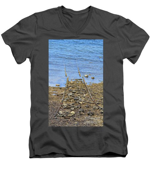 Men's V-Neck T-Shirt featuring the photograph Forgotten Line by Stephen Mitchell