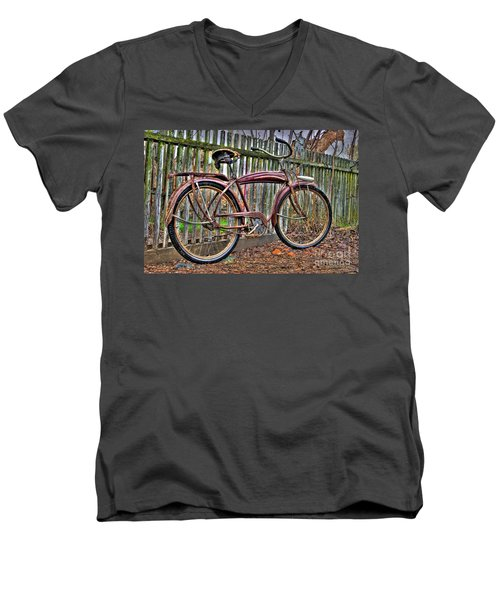 Men's V-Neck T-Shirt featuring the photograph Forgotten Ride 1 by Jim and Emily Bush
