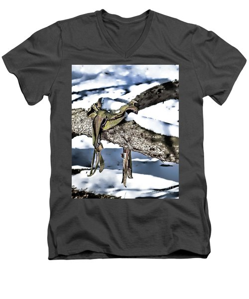 Forgotten Saddle Men's V-Neck T-Shirt by Nicki McManus