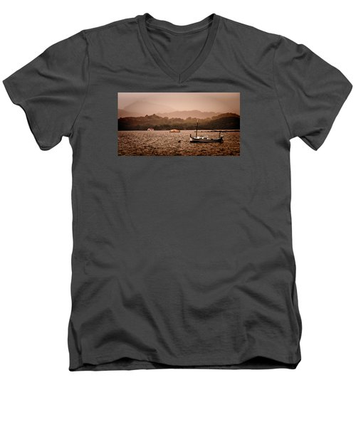 Fornells Bay In Menorca Island - Even Most Beautiful Places Have Secrets To Hide By Pedro Cardona Men's V-Neck T-Shirt