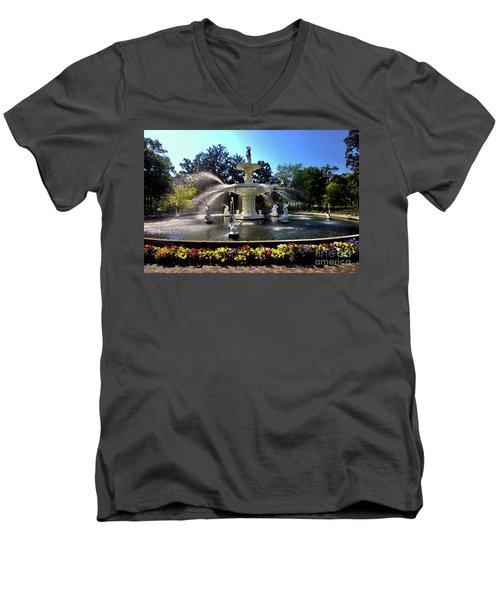 Forsyth Fountain In Spring Men's V-Neck T-Shirt