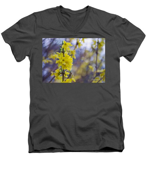 Men's V-Neck T-Shirt featuring the photograph Forsythia by Rima Biswas