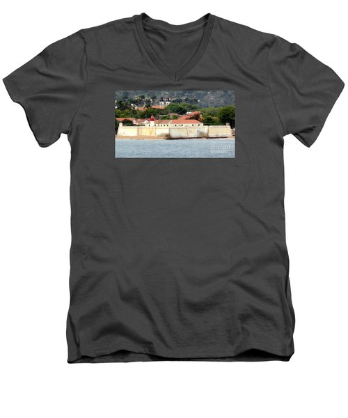 Fort At Sao Tome W. Africa Men's V-Neck T-Shirt by John Potts