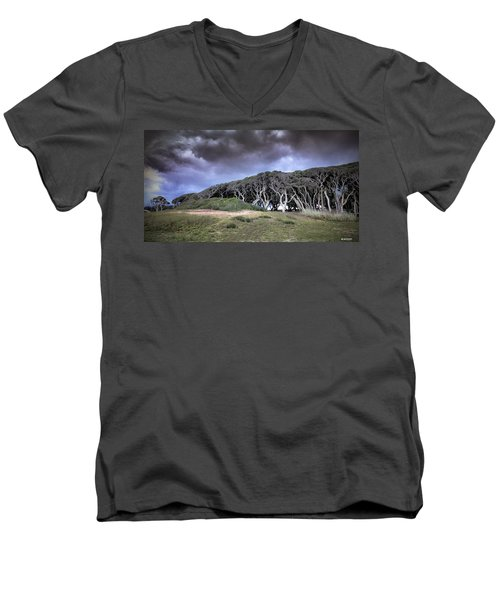 Men's V-Neck T-Shirt featuring the photograph Fort Fisher Stormy Sunset by Phil Mancuso