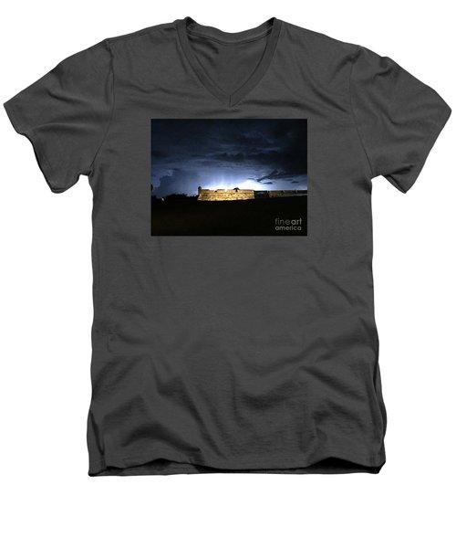 Lightening At Castillo De San Marco Men's V-Neck T-Shirt by LeeAnn Kendall