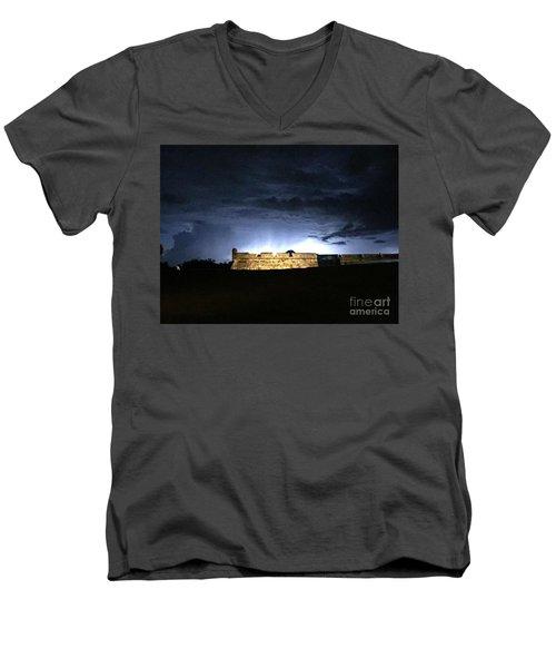 Lightening At Castillo De San Marco Men's V-Neck T-Shirt