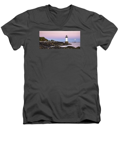 Men's V-Neck T-Shirt featuring the photograph Fort Pickering Lighthouse, Harvest Supermoon, Salem, Ma by Betty Denise