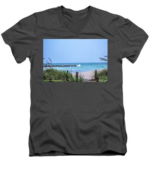 Fort Pierce Inlet Men's V-Neck T-Shirt by Nance Larson