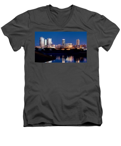 Fort Worth Skyline At Night Poster Men's V-Neck T-Shirt